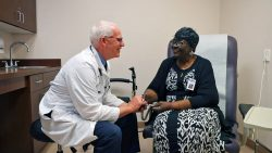 A member visits the doctor at a Senior LIFE Health and Wellness Center.